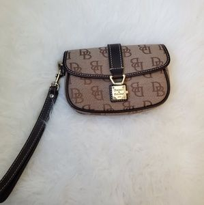 Dooney and Bourke wristlet - brown and tan